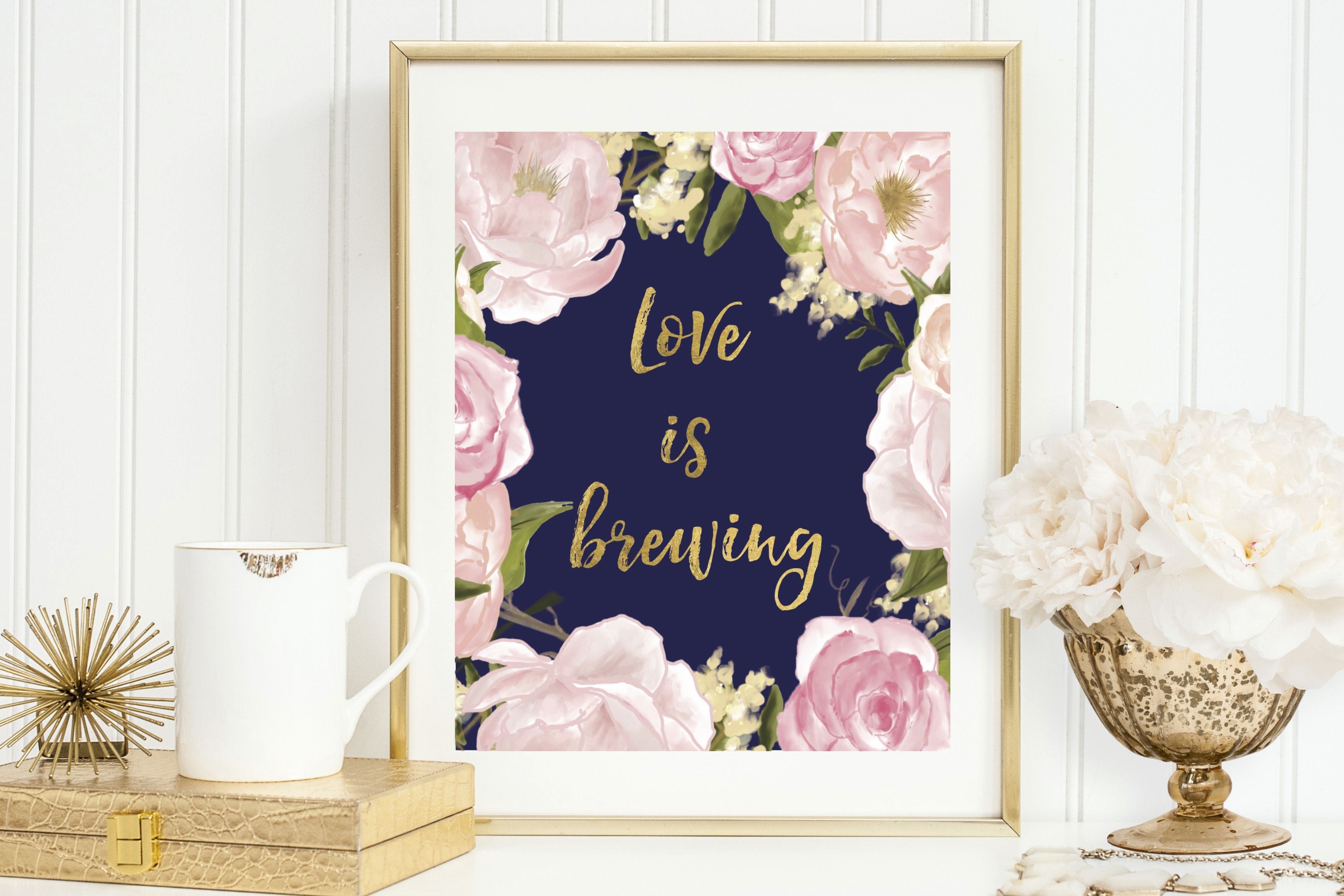 Gold + Blush + Navy Coffee Bar Sign | Wedding Reception | Bridal Shower