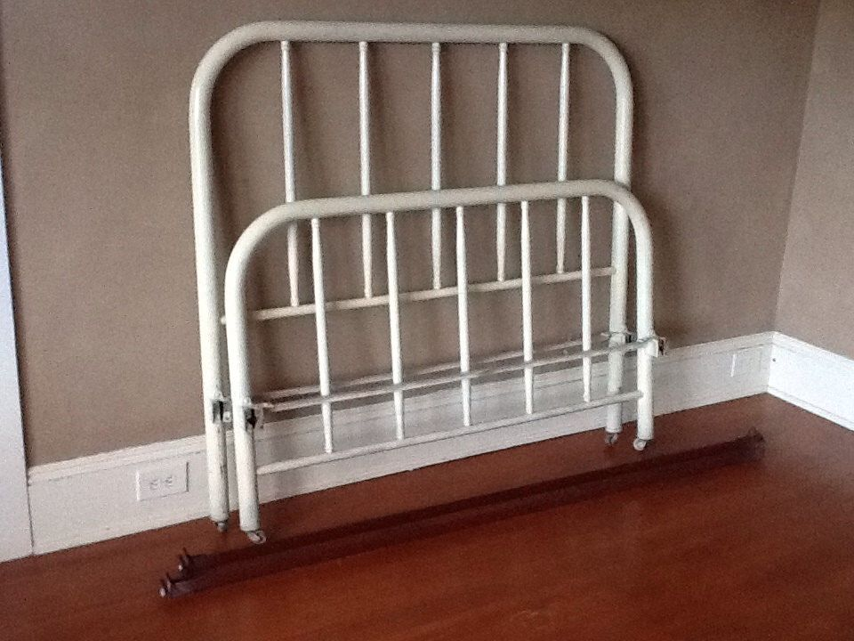 Cream Colored Double Iron Bed with Rails by ThePuppyDogTails on Etsy https://www.etsy.com/listing/223744194/cream-colored-double-iron-bed-with-rails