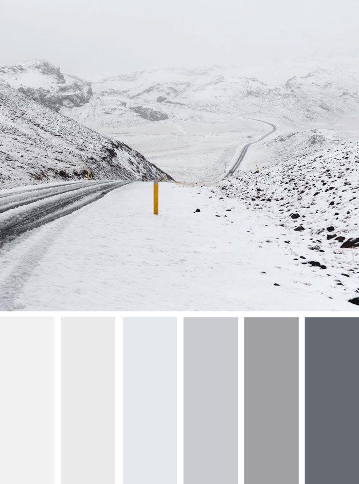 Grey and white winter color scheme winter color palette