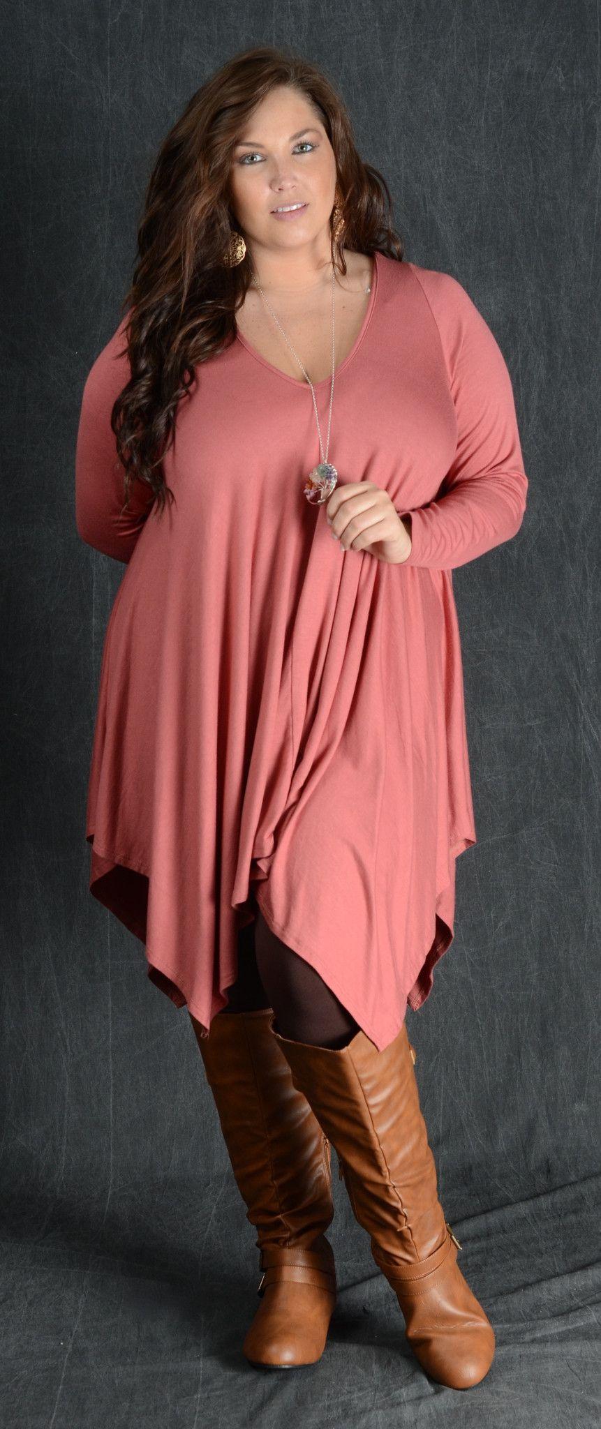 Rust V-Neck Tunic Dress | Thicke Madame Fashion | Pinterest ...