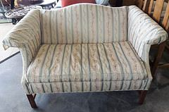 Superb Cream U0026 Blue Striped Loveseat   Conover Chair Company