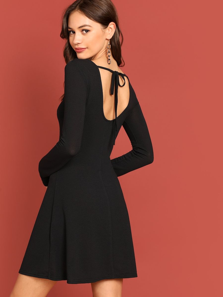 Plunging Neck Fit And Flare Dress Shein Sheinside Fit Flare Dress Flare Dress Dresses [ 1199 x 900 Pixel ]