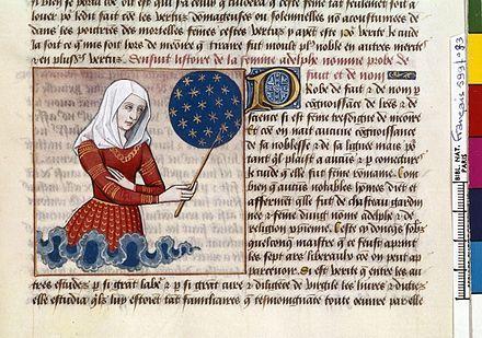 Proba che insegna la storia del mondo a partire dalla creazione nella sua opera Cento Vergilianus de laudibus Christi. Miniatura da un manoscritto del XV secolo del De mulieribus claris di Boccaccio.