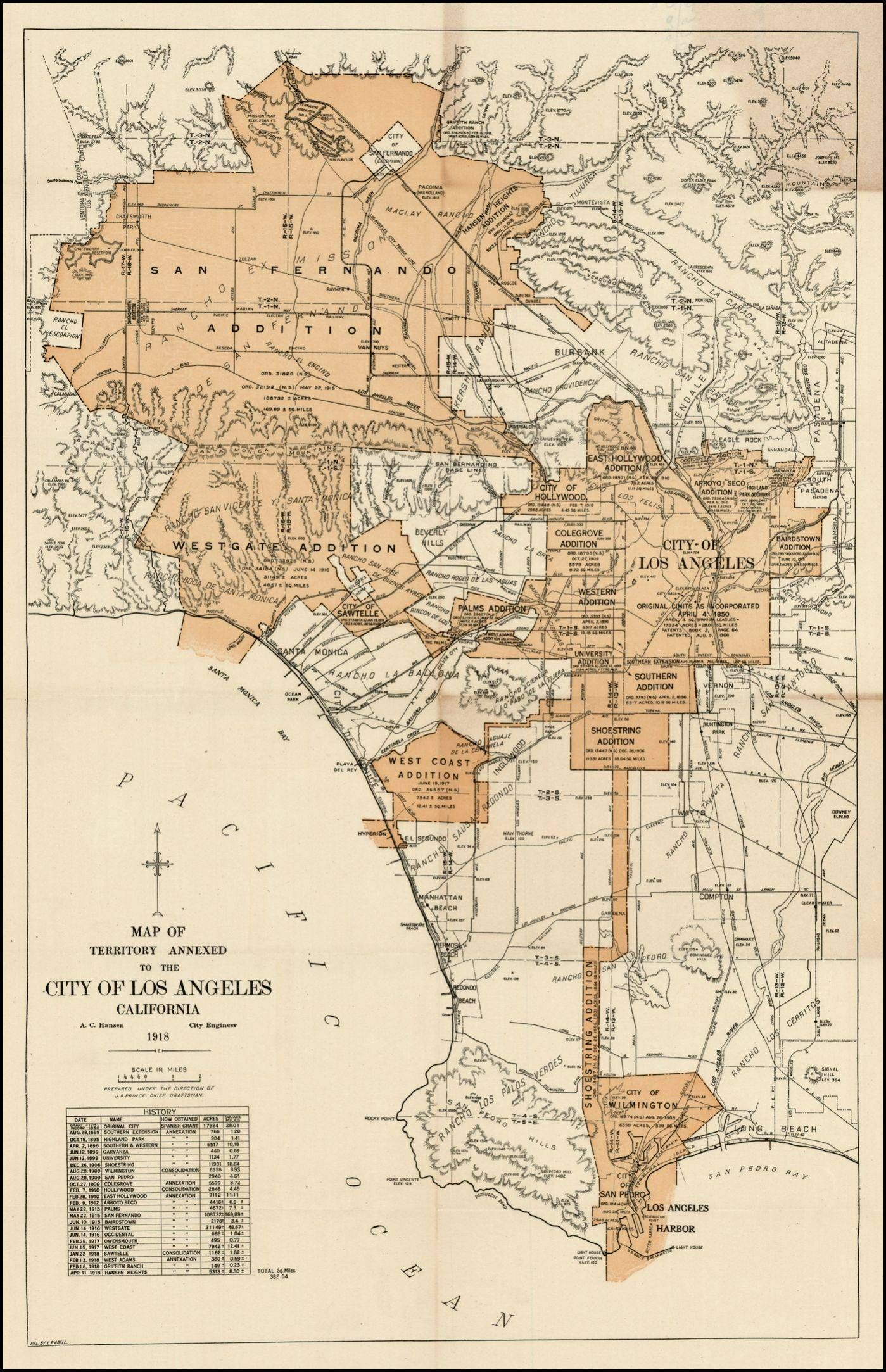 Expanding City Of Los Angeles Circa 1918 Los Angeles Map Los Angeles Map Print Antique Maps