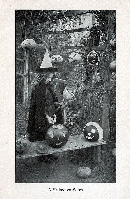 Vintage Halloween Ephemera ~ A Hallowe'en Witch * A Page from In and Outdoor Games by Mrs. Burton Kingsland ©1904