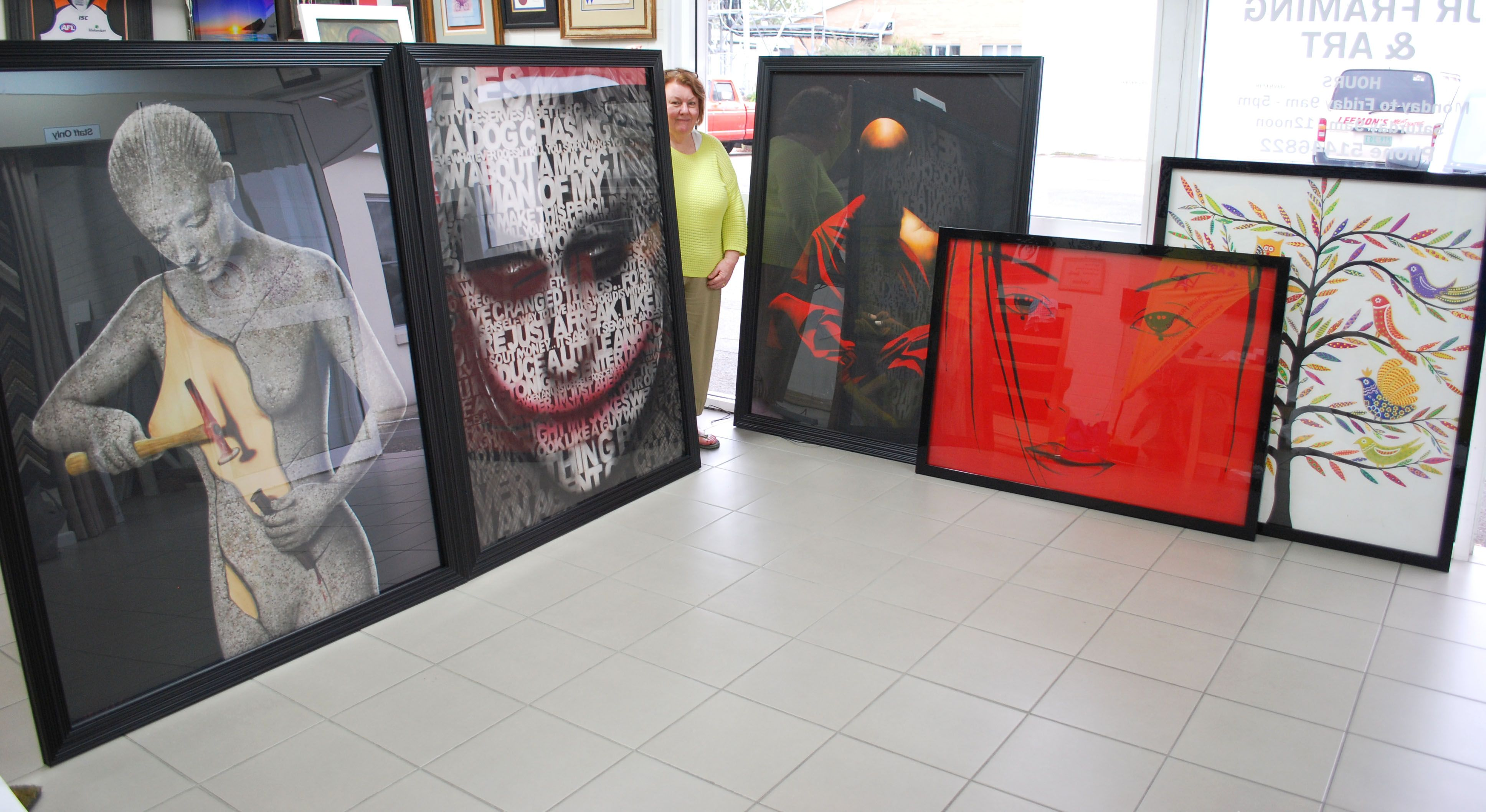 5 large canvases framed ready to be taken to there new home, the customers were over the moon with how these turned out.