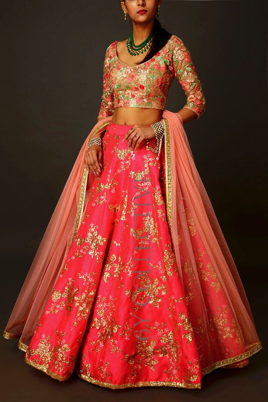 Hot Pink Sequins 6YCollective Lehenga Raw silk lehenga