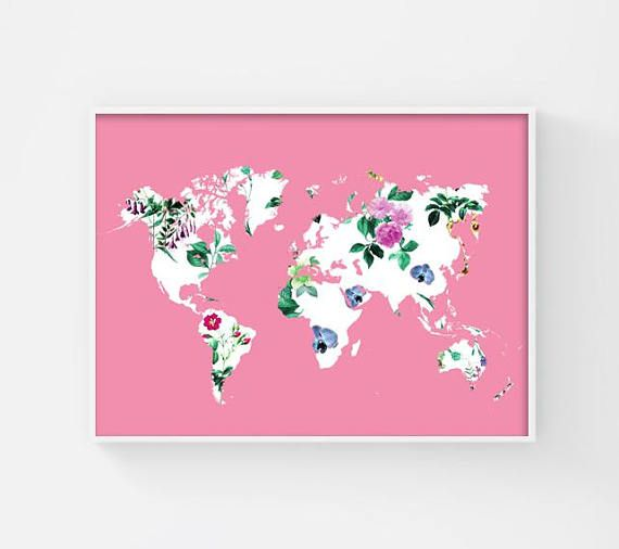 Floral World Map Poster Printable World Map Pink World Map Art - Pink world map poster