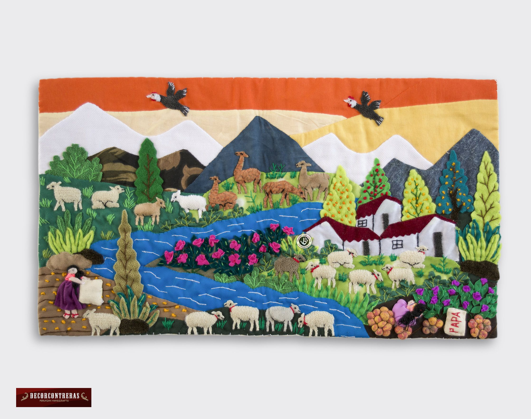 Wall Hanging Quilt 10 X17 7 Arpillera Art Work Tapestrie 3d Peruvian Textile Artwork Embroidered Appliques Of Fabric Peru Textiles In 2020 Textiles Artwork Quilted Wall Hangings Hanging Quilts