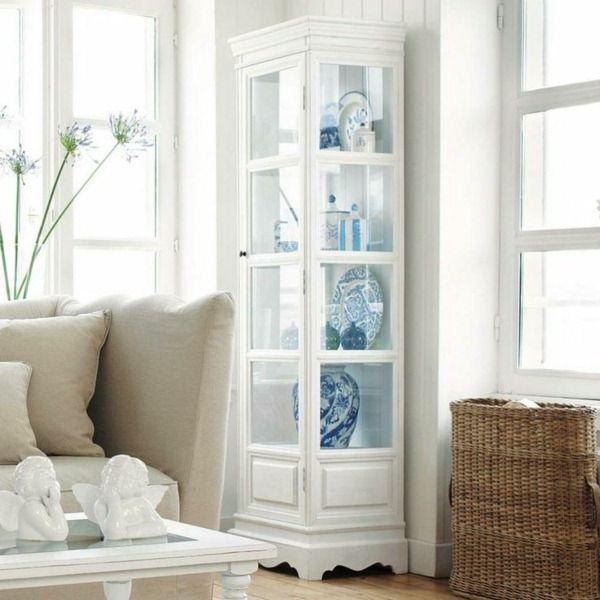 Vitrine In White Living Room Design