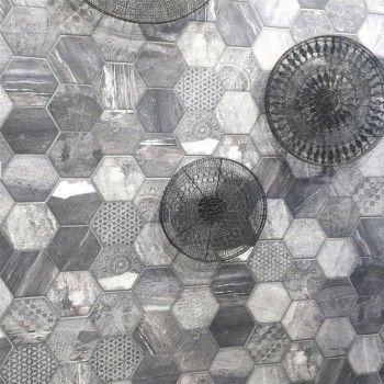 MUSTER Bodenfliesen Sechseck Hexagon Fliese Old Wood Optik 45x45cm