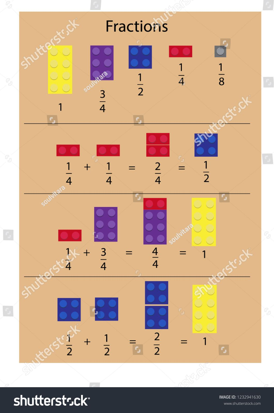 Simple Explanation Of Fractions Theme Using Blocks