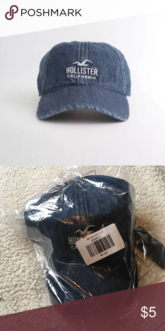 0a9bb650f429 NWT Denim Hollister Dad Hat Brand new, still in the plastic! Embroidered  with name and logo, in a nice, medium/dark wash denim Hollister Accessories  Hats
