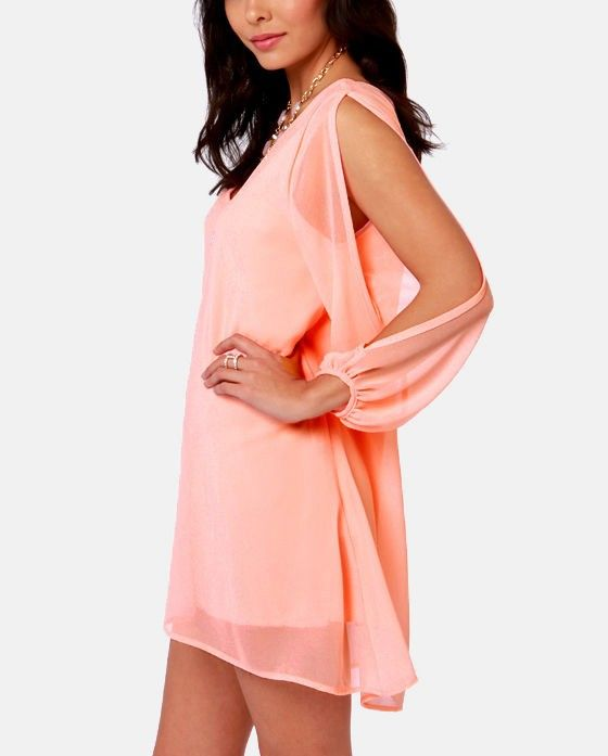 1d26d1041f4 Light pink chiffon forms a roomy shift silhouette with a deep, scoop  neckline and a flared shape that flows into an asymmetrical, concave  hemline. Long ...