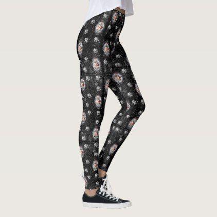 Gothic Rose Cameo Damask Leggings - cyo diy customize unique design gift idea perfect