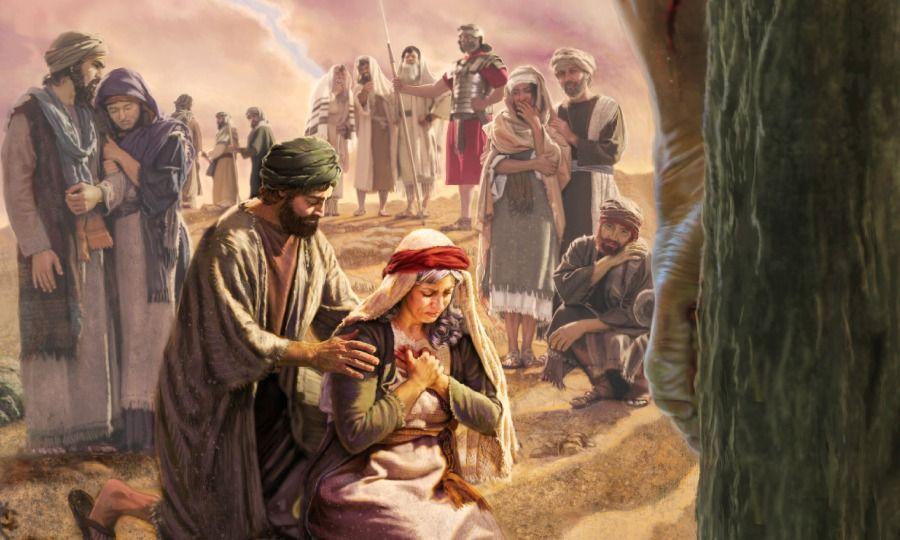 Mary weeps in grief as Jesus dies at Golgotha