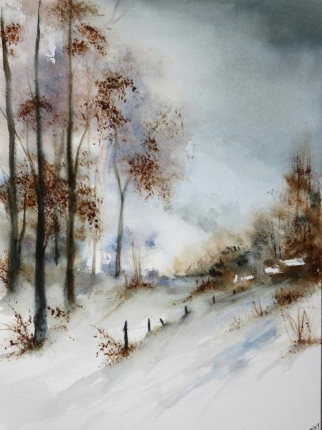 Enfin La Neige Abby Watercolor Art Winter Watercolor