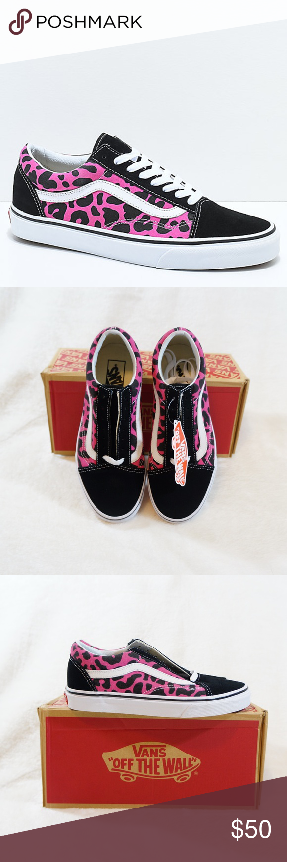 9deab4b3b8bf Vans Old Skool Pink   Black Leopard Print Shoes Old Skool Pink and Black  Leopard Print Skate Shoes from Vans. Low-profile design. Suede upper with  pink and ...