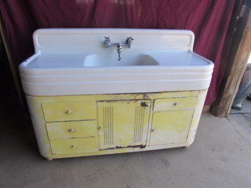 Antique Porcelain Cast Iron Farm Sink