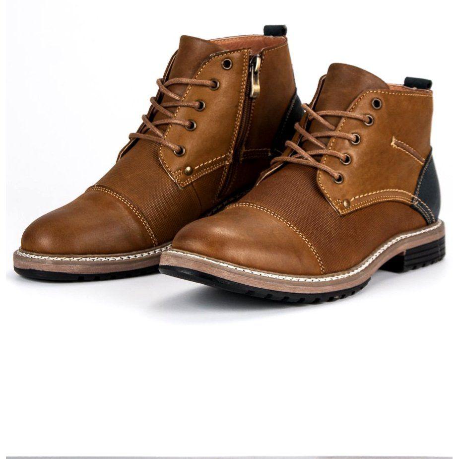 Trekkingowe Meskie Mckey Mckey Brazowe Skorzane Botki Meskie Combat Boots Boots Shoes