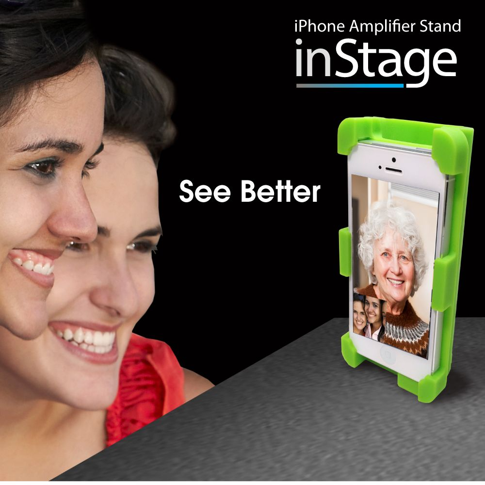 M.Wave InStage: The perfect solution for iPhone Video Chat. It holds iPhone in vertical or horizontal position securely and amplifies iPhone's speaker sound 400%. Enjoy Free-hands video chat with InStage! By Datexx @ http://www.amazon.com/datexx