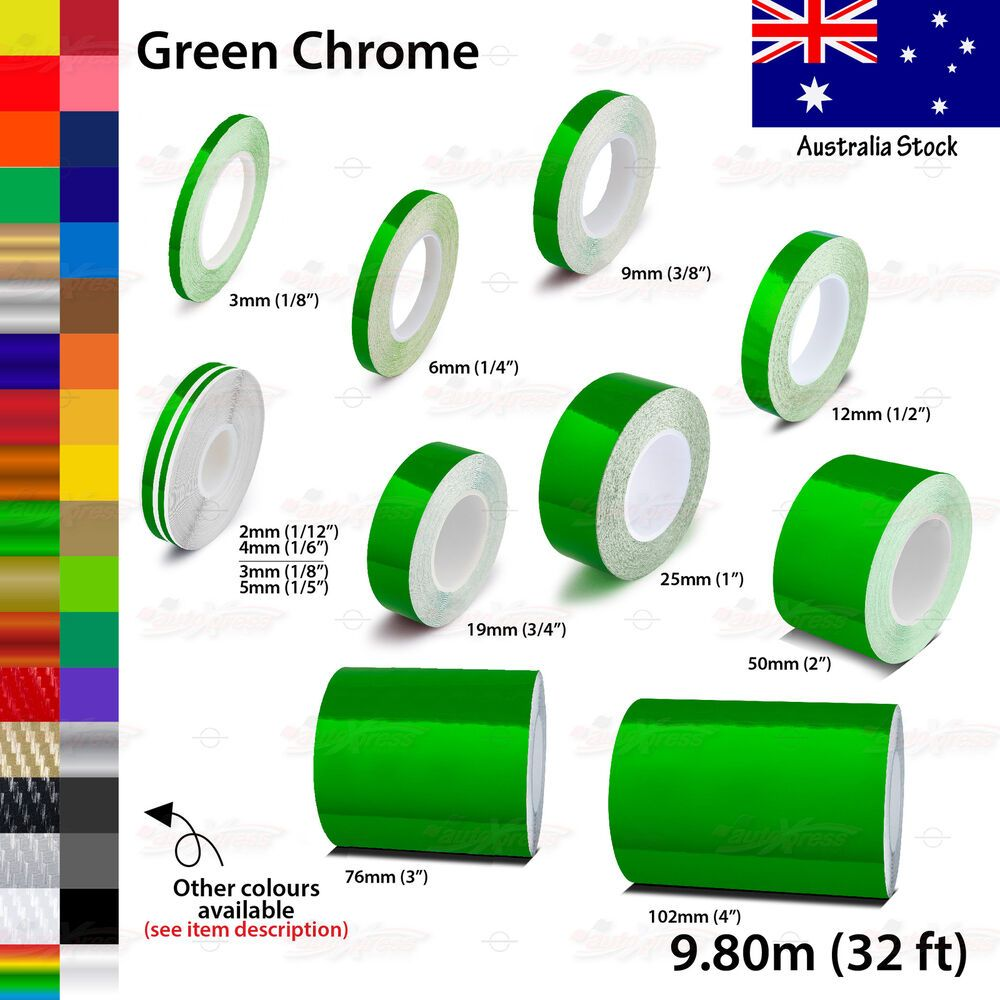 """9mm 3//8/"""" PinStriping Pin Stripe Tape SOLID Line Decal Vinyl Sticker GREEN CHROME"""