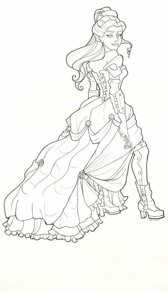 Steampunk Belle coloring page printable adult Kleuren voor volwassenen Färbung…