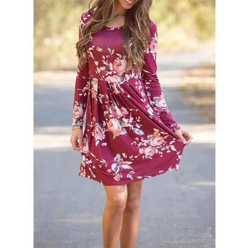 c5634f116471 Floral Printed Mini Dresses Women Long Sleeve Dress Casual Spring Oversize  Knee-length Sundress for Girls