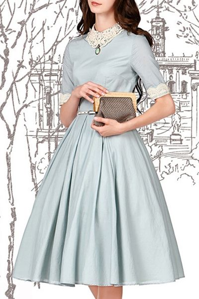 More Forties Inspired Flair: Lace Spliced Turn-Down Collar Flare Dress