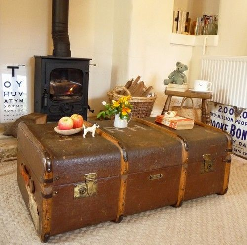 VINTAGE STEAMER TRUNK Vintage Suitcase OLD TRAVEL TRUNK ~ QUIRKY ...