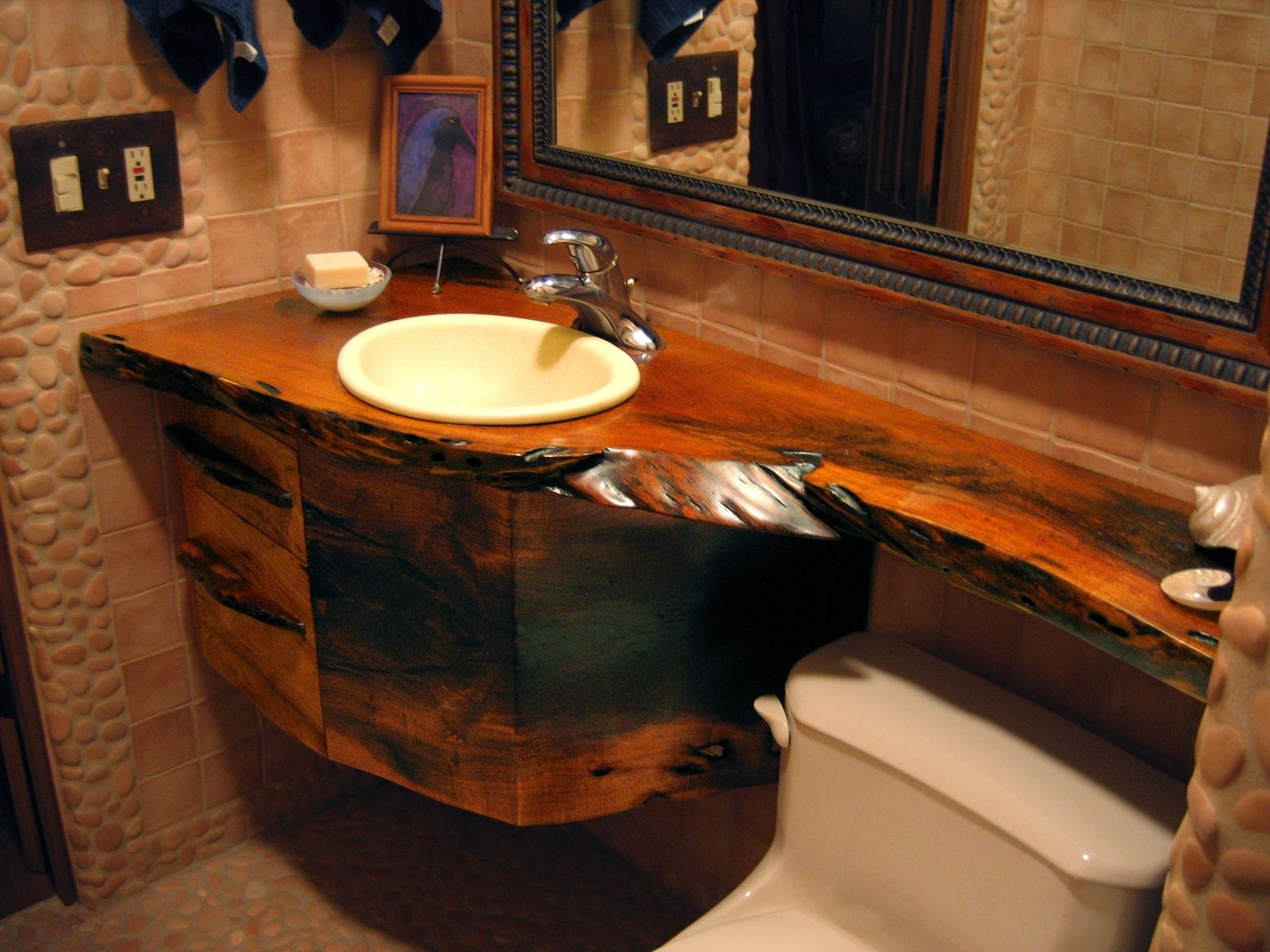 Mesquite bathroom countertop drawers bathrooms for Natural edge wood countertops