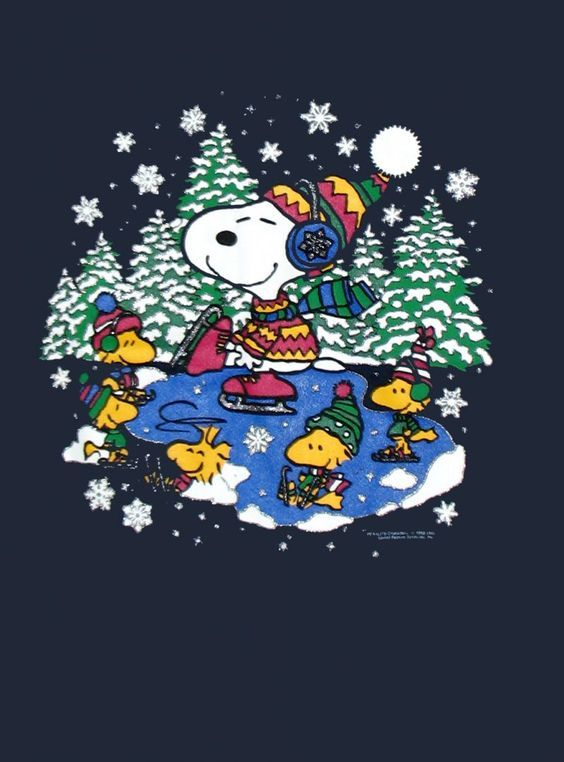 snoopy skating with woodstock and friends!