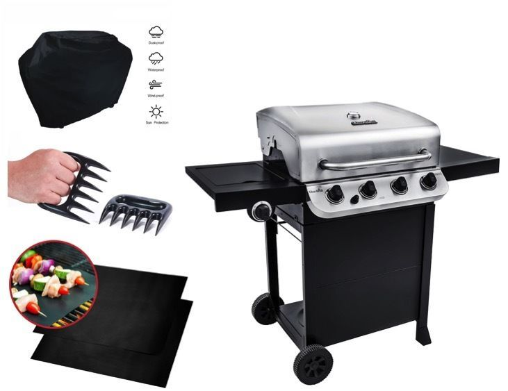 Outdoorküche Gasgrill Cover : Stainless steel gas grill outdoor 4 burner propane mat cover claws