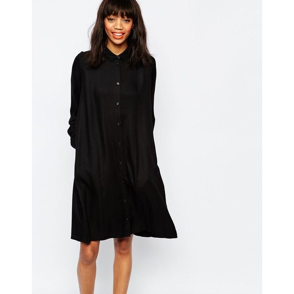 Monki Oversized Shirt Dress With Collar (£30) ❤ liked on Polyvore featuring dresses, black, collar dress, long black shirt dress, black stripe dress, oversized dress and shirt dress