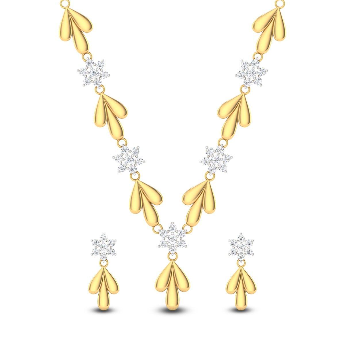 Floral Budding Star Diamond Studded Necklace