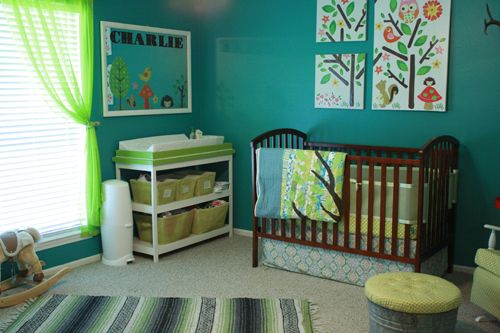 Baby Nursery Decor Rugs Teal Hand Painting Enchanted Forest Creative Decoration Thre Pieces Framed Black Green White Best