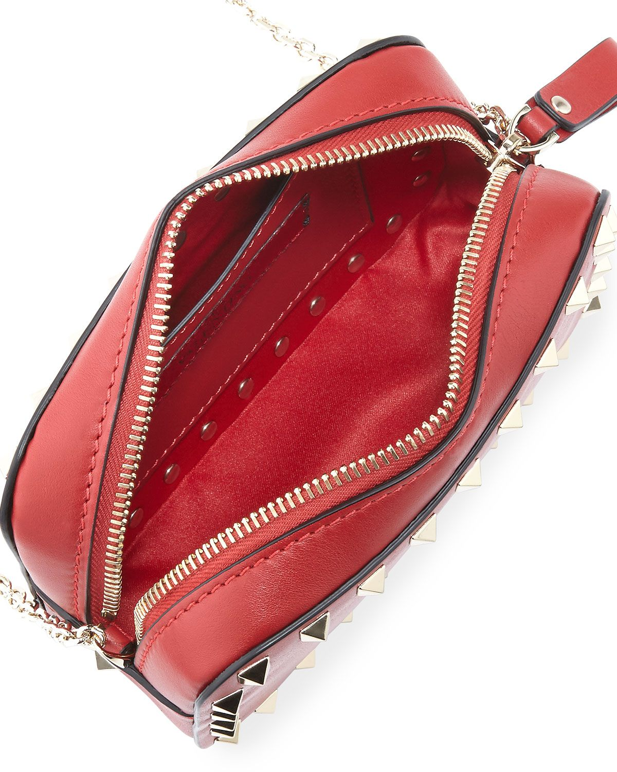 Valentino Small Rockstud Chain Camera Crossbody Bag, Red