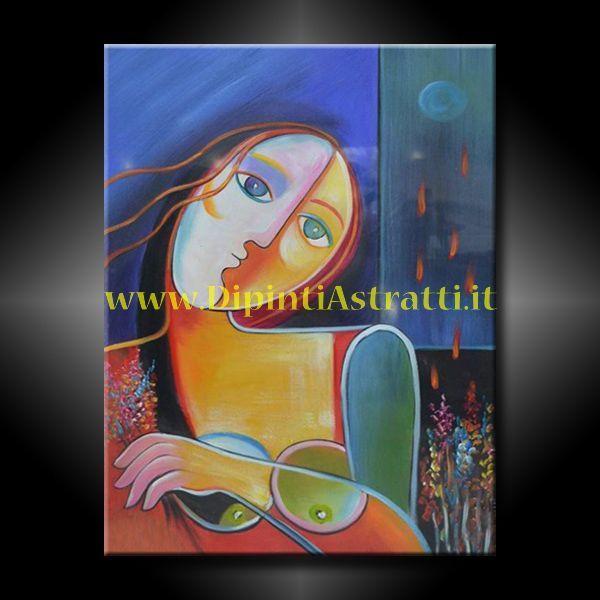 Dipinto olio su tela con volto di donna realizzato in stile ...
