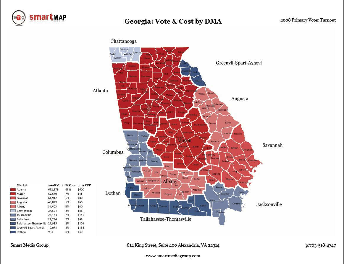 DMA Map of Georgia | Smart Maps | Map, Mapping , Media campaign Dma Map on