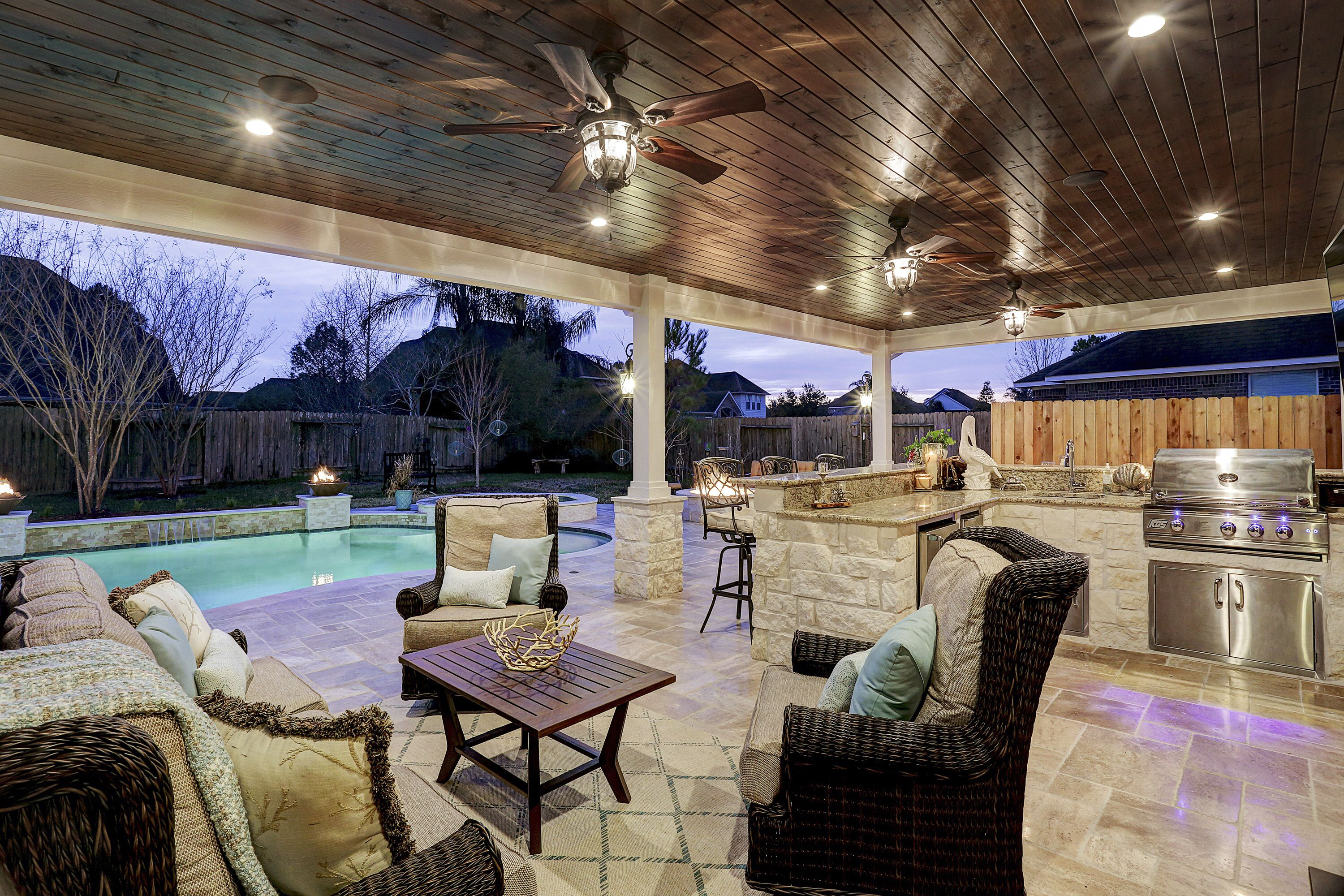 Outdoor Living Area With Tongue And Groove Ceiling And Outdoor Kitchen Outdoor Remodel Outdoor Living Space Design Outdoor Living Areas