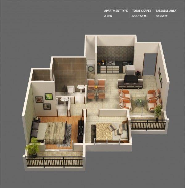 Hauspläne 3d  20 Interesting Two-Bedroom Apartment Plans | Bedroom apartment ...