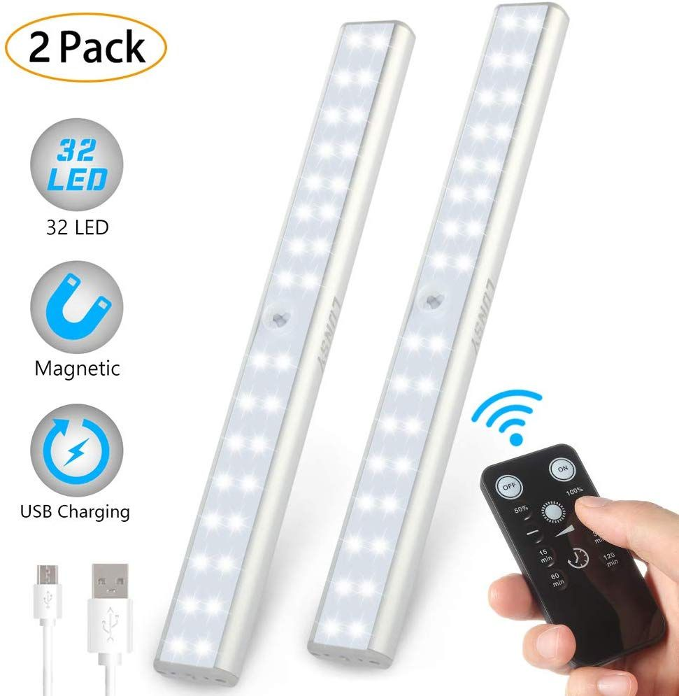 Lunsy 32led Closet Light Rechargeable Wireless Under Cabinet Lighting With Remote 220lm Stick On Portable Under Counter Shelf Magnetic Light Bar For Kitchen In 2020 Under Cabinet Lighting Wireless Closet Lighting Under