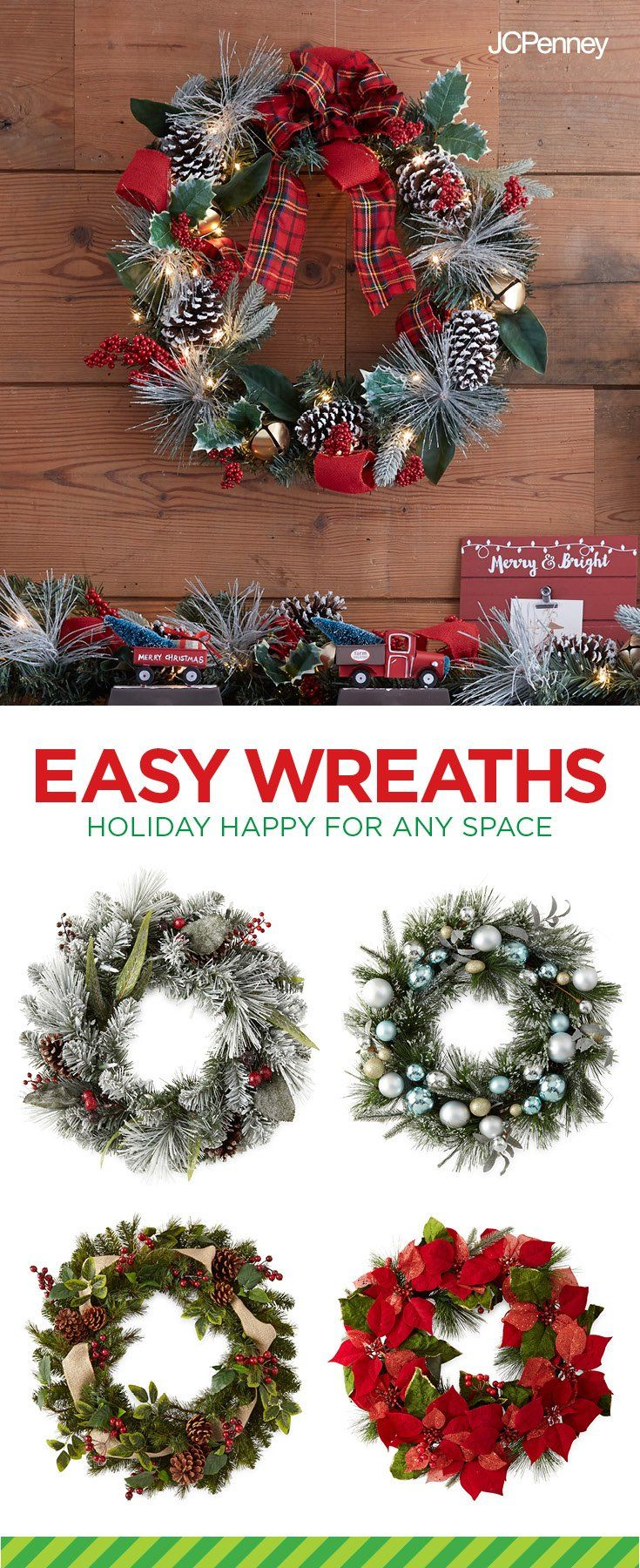 garlands wreaths holiday decor for the home jcpenney - Jcpenney Christmas Decorations