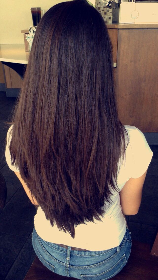 long deep espressobrown hair with short chunky layers
