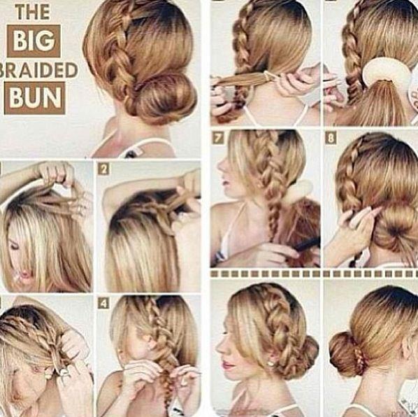 Step by step the big braided bun