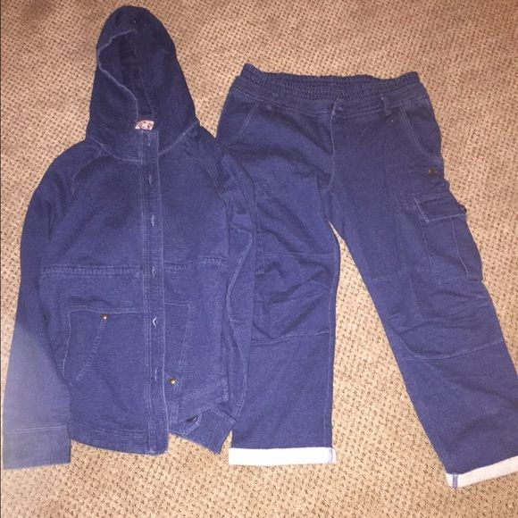 JUICY CROPPED PANT SWEAT SUIT 100% authentic juicy couture Denim look cotton sweat suit size small brand new with tags. Hoodie buttons pants are cropped & have drawstring & pockets as seen in pics. Juicy Couture Other