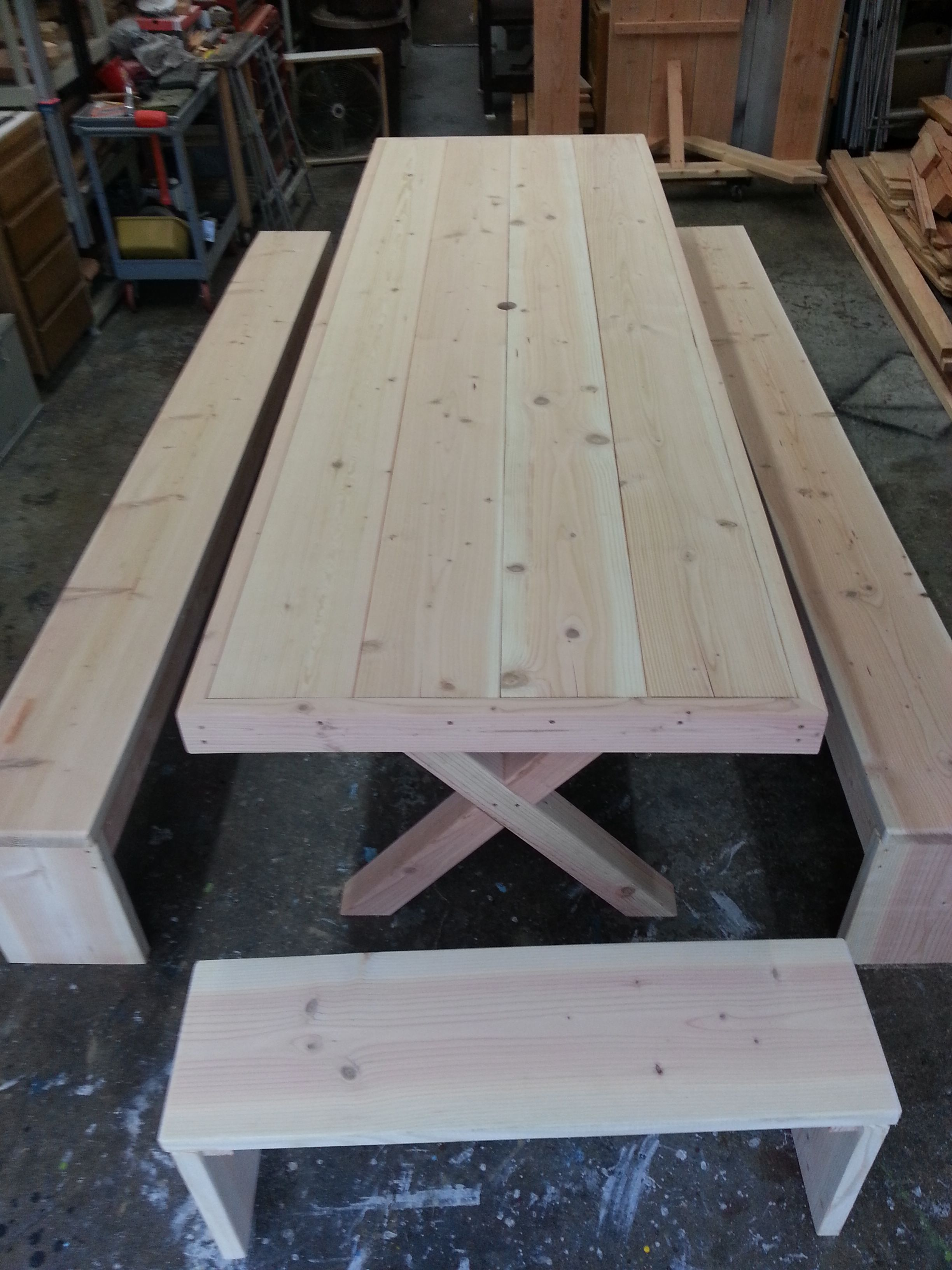 Doug Fir 10ft Long Oversized Wrapped Top X Legs 4 Seperate Benches 1100 Call Steve 760 333 2410 Diy Picnic Table Custom Outdoor Furniture Wood Patio
