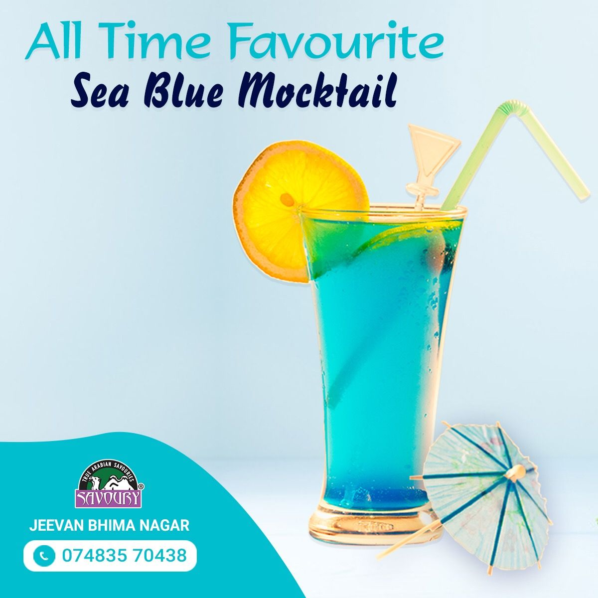 ‬ ‬ All time favourite sea blue mocktail from Savoury Jeevan Bhima Nagar Restaurant. Visit us today and enjoy!