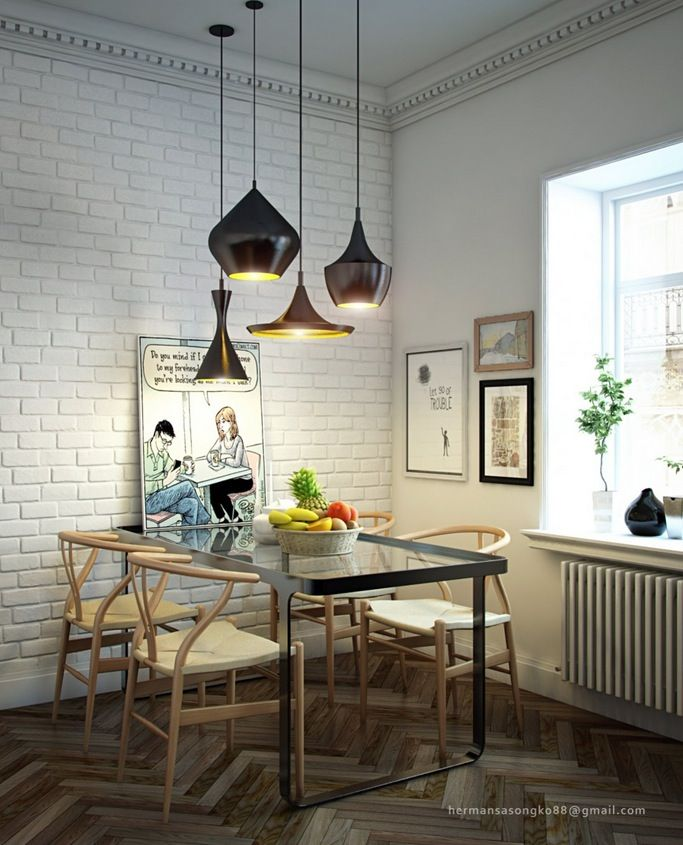 Modern Pendant Lighting For Dining Room Decoration Beauteous Dining Room Design White Brick Wall Black Pendant Lamps Glass . Design Inspiration