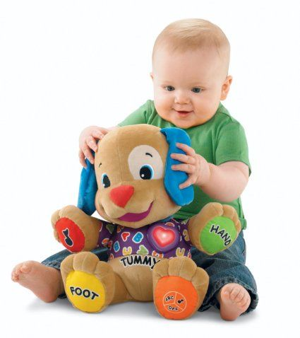 #Fisher-Price Laugh & Learn Love to Play Puppy Play #games, sing songs and enjoy lots of learning fun with this huggable Laugh & Learn Love to Play Puppy friend.  numbers, counting, parts of the body, colors and more.